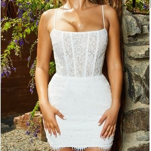 Oh Polly LACE IS MORE LACE MINI DRESS IN WHITE